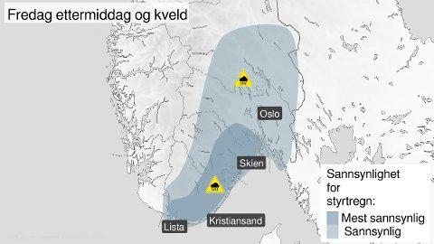 FAREVARSEL: Styrtregn og tordenbyger skal passere regionen i løpet av ettermiddagen og kvelden.