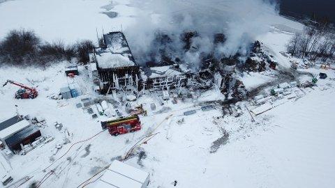 BRANT NED: Skreia avløpsrenseanlegg brant ned til grunnen  18. desember 2018.