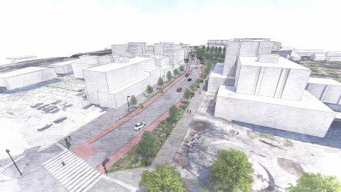 SLIK?: Denne skissen viser hvordan Strandgata kan snegle seg forbi rådhuset (til høyre i bildet) og videre sørover fra Gjøvik sentrum.