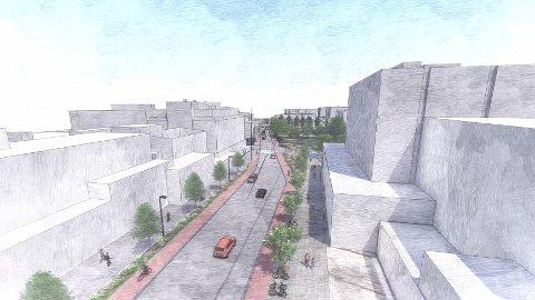 PARADEGATE: Strandgata skal få et estetisk løft og bedre framkommelighet for busser, syklister og gående.