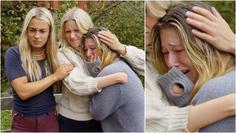STERKE REAKSJONER: Det ble en tårevat dag for Amalie Lund under tirsdagens episode av Farmen.