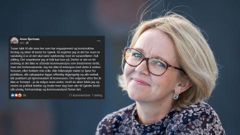 TOK ORDET: Varaordfører i Gjøvik kommune Anne Bjertnæs måtte selv inn på Facebook-gruppen «Lokalpolitisk diskusjonsgruppe for Gjøvik kommune» for tilsvar.