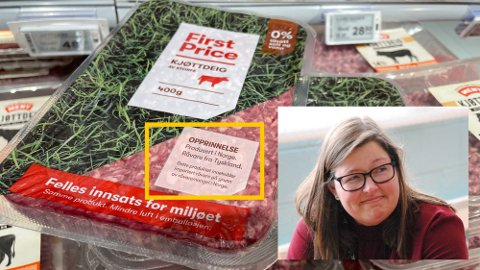 IMPORTERT: Norgesgruppen endret emballasjen på kjøttdeig for å tydeliggjøre opprinnelsesland bedre. Det er merkbart mer importert kjøtt i butikkene nå enn før pandemien.