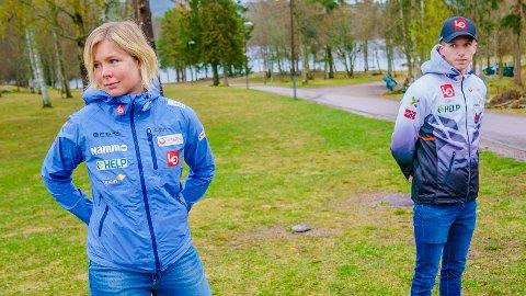 GIR IKKE OPP: Maren Lundby og Halvor Egner Granerud under pressekonferansen til hopplandslaget på Sognsvann i Oslo.