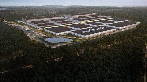 ENORME DIMENSJONER: Slik ser man for seg en kjempestor batterifabrikk vil se ut. 82 kommuner, deriblant Rana, har vært med i komkurransen om å bygge gigafabrikken.