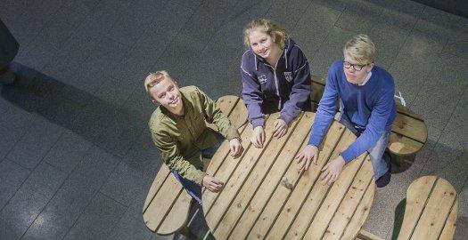 For unge: Andreas Aarseth Willassen, Kaja Ladstein og Eirik Karlsen Sætra (f.v.) mener 16-åringer er for unge til å stemme.