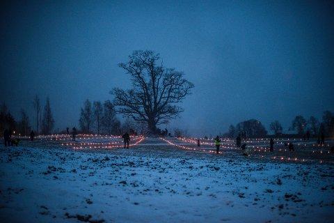 FEIRING: Et par titalls mennesker hadde møtt opp for å feire vintersolverv, også kalt solsnu.