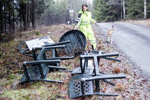 Skogen som søppelplass: Maria Helene Reina har anmeldt den som er eier disse hagemøblene som er dumpet ved den private veien. – Vi flyttet ikke hit for å bo på en fyllplass, sier hun.   foto: Solveig wessel