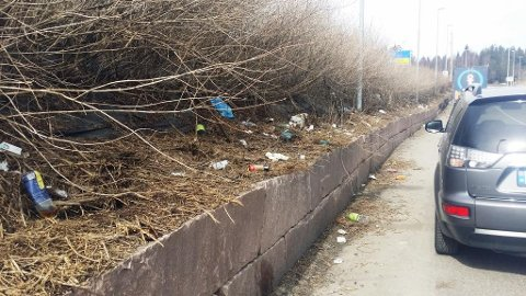 Det er mange som ikke klarer å kaste søppel i søppelbøttene på Taraldrud trafikkstasjon.Foto: Statens vegvesen