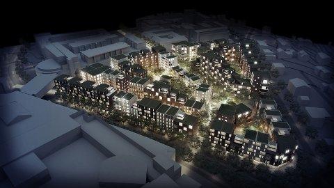 IDYLL: Slik ser arkitektene for seg Ski sentrum om noen år. - Det ser ut som skomakergata, mener Mathis Grimstad. Illustrasjon: AART architects