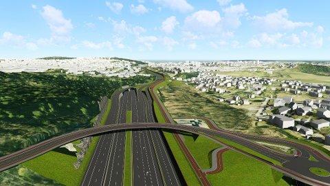 E6 OSLO ØST: Skisse av planer for Abildsø-området, med tunnelmunning i nord, ny lambertseterbro og flere filer.