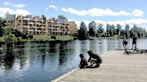 VESLEBUKTA: Innerst på Tangen skal Solon bygge 70 boliger fordelt på 56 leiligheter og 14 rekkehus.