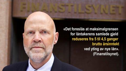 SOM VANLIG BEKYMRET: Finanstilsynet med direktør Morten Baltzersen i spissen er som vanlig bekymret for høy belåning og vil stramme inn på boliglånsforskriften. Foto: Cf-wesenberg (Montasje: Nettavisen)