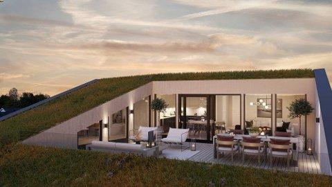 TAKTERRASSE: Vinklgården bygges med 44 eksklusive leiligheter – fra effektive 1-romsleiligheter på snaue 30 m2 og 2-roms leiligheter på litt over 40 kvm, til større 3- og 4-romsleiligheter på opptil 132 kvm.