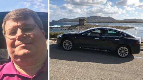 Svein Halvard Nergård er frustrert over all tiden han har brukt på å få Tesla til å ordne opp i problemet han har hatt med førersetet siden høsten 2018. Bildet til høyre viser Nergård på tur med sin Tesla Model S før problemene oppsto.
