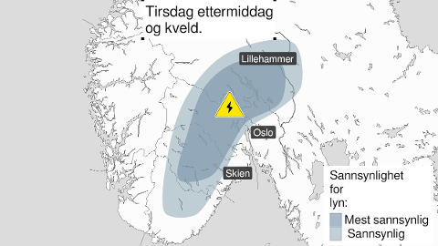SENDT UT FAREVARSEL: Meteorologisk institutt har sendt ut farevarsel for tirsdag ettermiddag og kveld. Nå ber de flere være obs.