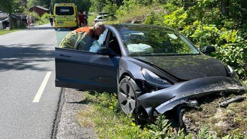Her kjørte bilen av veien.