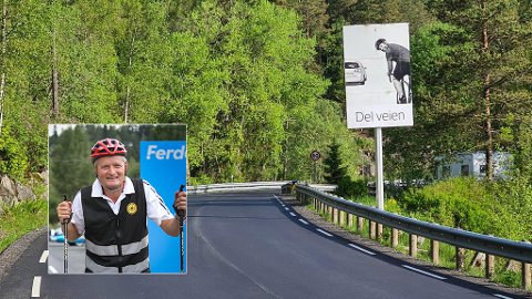 """Knut Oppegaard synes det nesten blir komisk å sette opp """"del veien""""-skilt når de gjør det verre for de myke trafikantene."""