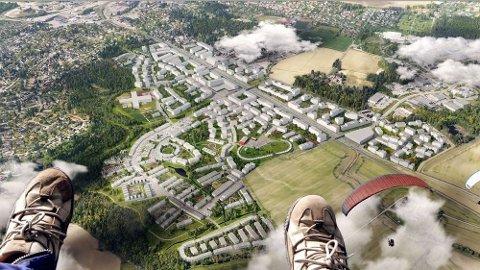 Bare på Ski Øst planlegges det boliger som skal romme 10 000 innbyggere. Manipulert illustrasjonbilde: Ski Øst AS/Link Arkitektur