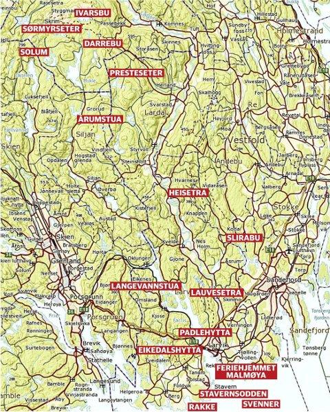 Mange muligheter: Kartet viser utleie og dagsturhytter i vårt distrikt. Her er fike kystledhytter, 11 turistforeningshytter og en tilhærende Kjose IL.