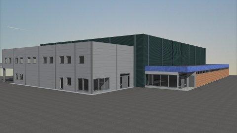 Framhallen får et nytt kafeteriatilbygg. På denne illustrasjonen er det lagt inn blått tak, men dette er ikke helt avgjort ennå.