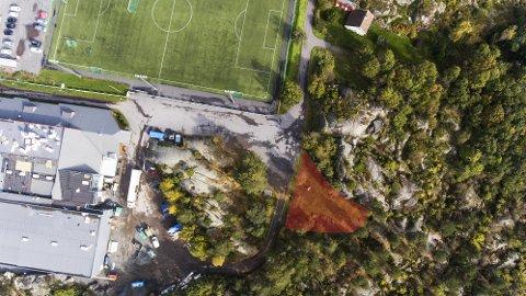 I SØR: Det skraverte området viser hvor treningsparken er tenkt plassert.