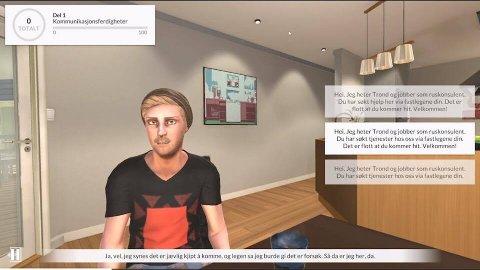 FØRST I LANDET: Larvik kommune bruker nå en spillbasert 3D-simulering for å trene sine ansatte i motiverende samtale.