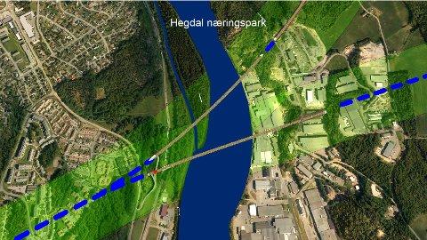 HEGDAL: De to alternative koridorene som kan komme inn fra Sandefjord mot Lågen. Øverst ser vi Verningen korridoren, og nedenfor den mer sktuelle Stålaker-korridoren som krysser Hegdal næringspark.