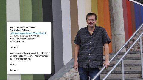 SLEIPT: Kulturhusleder Andreas Gilhuus er flere ganger utsatt for svindelforsøk. – Svindlerne er utrolig frekke. Det er ikke noe moro, sier Gilhuus, som har varslet politiet om hendelsene.