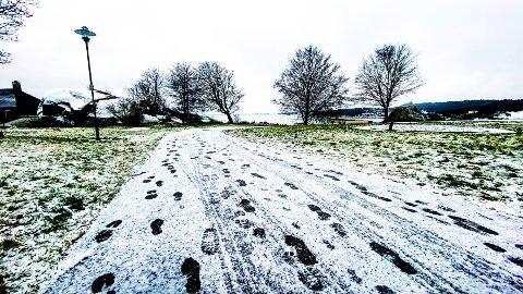 BØKKERFJELLET: Spor i snøen lørdag ettermiddag. Hvor går veien når vi snart går inn i et nytt år?