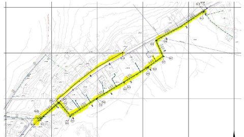Kartet viser hvor vann- og avløpsarbeidet i Helgeroa foregår.