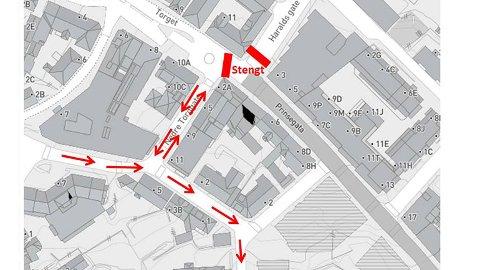 Kartet viser hvor det stenges og hvor man kan kjøre.