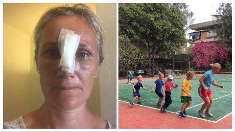 FLAKS I UFLAKS: Kjersti Stub (39) bor med familien i Kambodsja, et land som ikke har den beste medisinske hjelpen. Da grensene ble stengt oppfordret hun barna til å være ekstra forsiktige, men så var hun uheldig selv ... (Foto: Privat)