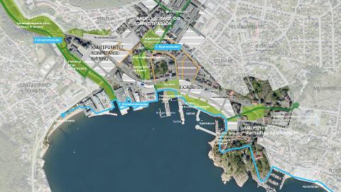 FRAMTIDENS LARVIK: Slik ser arealplan i Larvik kommune for seg at Larvik sentrum kan deles opp i framtiden. Nå skal politikerne begynne å diskutere planene.