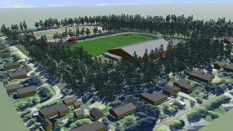 FOTBALLHALL: Sånn er det ment at fotballhallen skal se ut. På mandagens ekstraordinære årsmøte ble det innsett at prisen ble høyere enn først ventet.