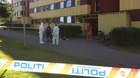 SPERRET AV: Politiet har sperret av et område i Ottestad i Stange, etter at to personer ble skutt. En sivilist er drept, mens en politimann har kommet alvorlig til skade. (Foto: Jan Morten Frengstad)