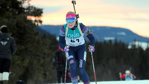 NORGESMETER: Randi Sollid Nordvang tok NM-gull i kvinnenes 18-årsklasse under junior-NM i skiskyting i Granåsen lørdag. (Foto: Svein Halvor Moe)