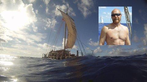 AVBRØT: Kon-Tiki 2-ekspedisjonen som har Erik Clasen (innfelt) fra Elverum med som sikkerhetsmannskap, har måttet avbryte seilasen etter 114 dager på Stillehavet. (Foto: Privat / kontiki2.com)