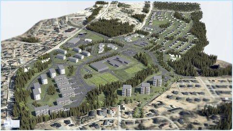 Skisse: Slik er planen for at den nye Ydalir bydel skal utvikles med 1000 nye boliger, skole og barnehage. Nå er bydelen blitt en del av forskningsprosjektet ZEN.