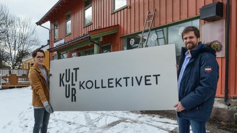 KULTURKOLLEKTIVET: Erik Lukashaugen (til høyre) er blant initiativtakerne, mens Simen Schikulski er første leietaker i Kulturkollektivets nye kontorfellesskap.