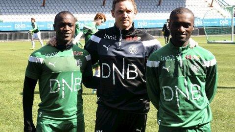 BLE BRUTALT SLÅTT NED: To dansker er dømt til fengsel i henholdsvis tre og et halvt og tre år etter det brutale overfallet på HamKams Franck Semou (til høyre) i september i fjor. (Arkivfoto: Petter Sand)