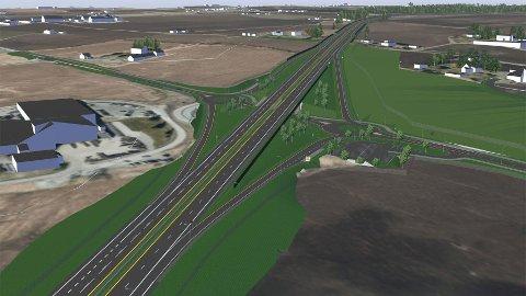 Nye veier ønsker at Uthuskrysset på E6 i Stange skal utformes på denne måten. Det vil være 70 millioner billigere enn dagens plan, spare matjord, være mer trafikksikkert og miljøet. Kommunen sier blankt nei.
