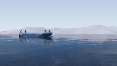 ELEKTRISK OG FØRERLØS BÅT: Hedmark Trafikk ønsker å utrede en elektrisk nullutslippsbåt på Mjøsa og samarbeider med NTNU som forsker på selvstyrte båter. Dette er en illustrasjon av Yara Birkeland, verdens første førerløse og hel-elektriske containerskip, som Yara og Kongsberg-gruppen nå tester ut fra Larvik til Herøya.