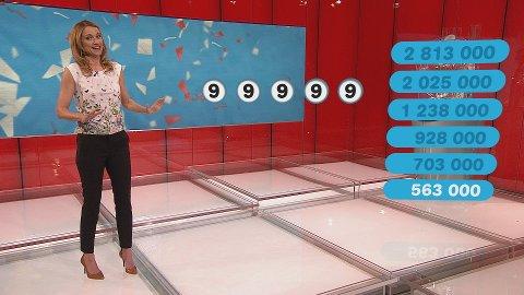 Programleder May Lisbeth Midtgård Myrvang ble overrasket da hun så de gode tallene Hilde Hansine fikk å spille på. Det er rett og slett umulig å få bedre tall.