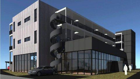 NYBYGG: Sånn blir det nye bygget i Koppang sentrum, som i tillegg til bibliotek, kunsthall og hotellrom kanskje også skal huse et nytt rovdyrsenter for Hedmark. (Tegning: Anderssen + Fremming Sivilarkitekter MNAL AS)