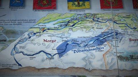 FELTTOG: Kart over ruta som viser Armfeldts felttog 1718 - 1719.