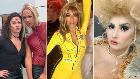 ELLEVILLE KOSTYMER: Morten Hegseth, Elizabeth Hurley og Demi Lovato er blant dem som overrasker stort med sine halloween-kostymer. Foto: Skjermdump (Instagram)