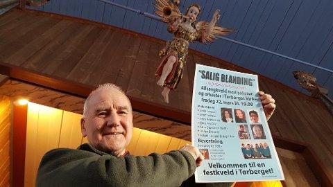 """SALIG BLANDING: Lokale artister spiller gratis for å bidra til konserveringen av basunengelen i Tørberget kirke. Konserten har fått tittelen """"Saling blanding""""."""
