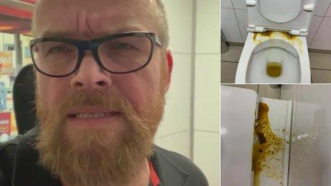 MØKKLEI: Roger Haugen er møkklei griser på toalettene på Circle K på Vestad. Han er tydelig på at noen rett og slett ikke kan å utvise folkeskikk. Foto: Roger Haugen