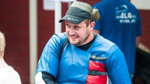 BARE NESTEN: Magnus Nordhagen kom akkurat ikke til topps i NM i elgskyting. Det ble sølv på Sørskogbygda-skytteren.
